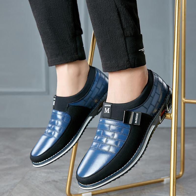 La nueva manera de edad de los hombres zapatos formales se deslizan en Puntas del dedo del pie de cuero de patente de Oxford zapatos para hombres vestido padre más el tamaño 38-48 W4