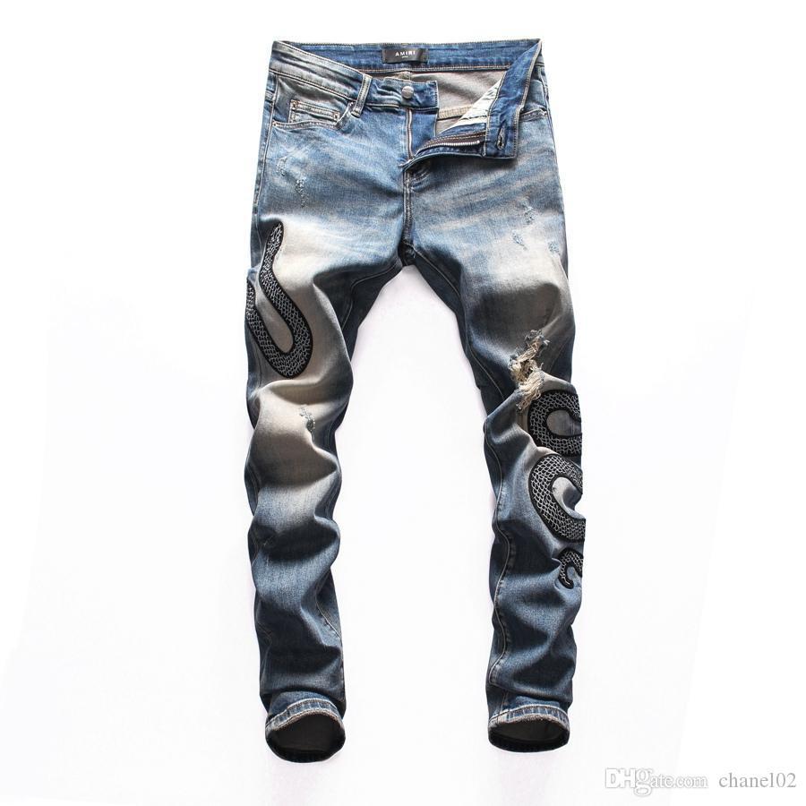 2019 nuovi dei jeans denim biker dritto jeans skinny Pantaloni Cowboy marca famosa Zipper progettista vendita calda progettista del Mens Jeans 002