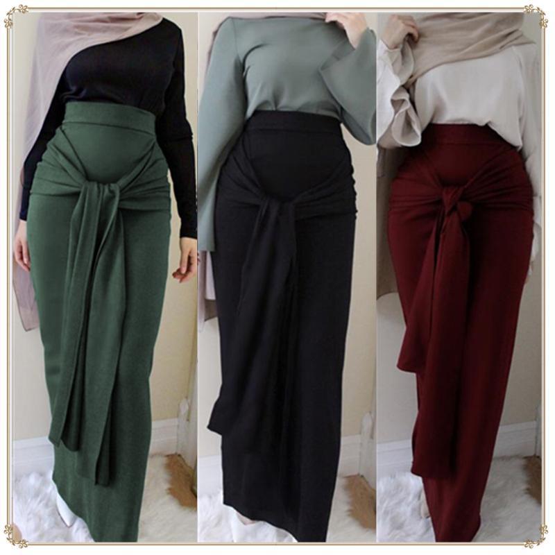 Moda Kadınlar Kemer Etek tulumlar Elbise Müslüman Bottoms Uzun Bandaj Kalem Etek Ramazan Parti Servis İslam giyimle İbadet