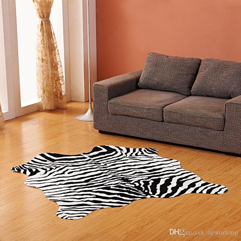 Zebra Non Slip Faux Fur Carpet Animal Skin Rug Door Floor Area Mat Home Decor