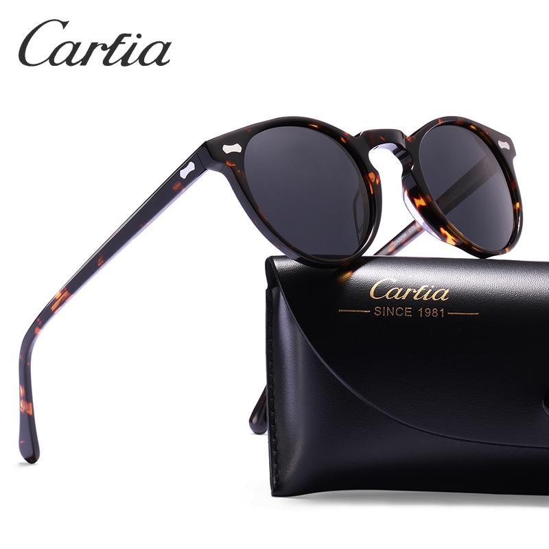 Carfia polarisierten Sonnenbrillen Klassische Marke Gregory Peck Vintage-Sonnenbrillen Männer Frauen Runde Sonnenbrillen 100% UV400 5288