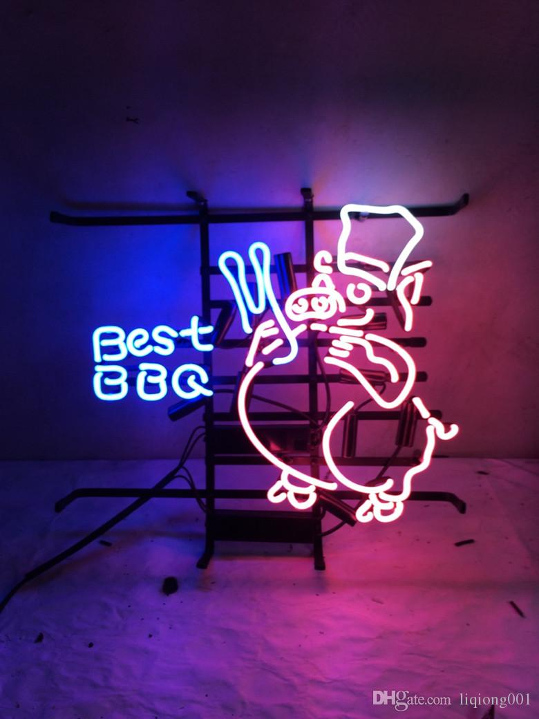 New Star Neon Sign Factory 17X14 Inches Real Glass Neon Sign Light for Beer Bar Pub Garage Room Best BBQ .