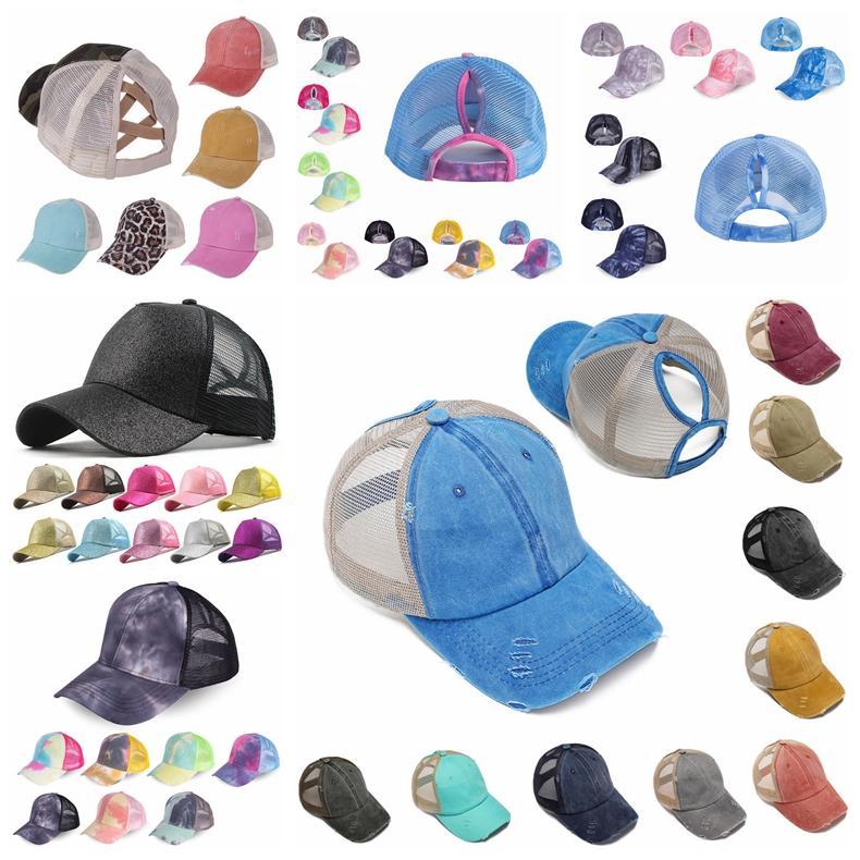 Конский хвост бейсболки блестят грязные булочки шляпы промытый хлопок галстук краситель Snapbacks Леопард солнцезащитный козырек открытый шляпа партия шляпы CCA12282 120 шт.