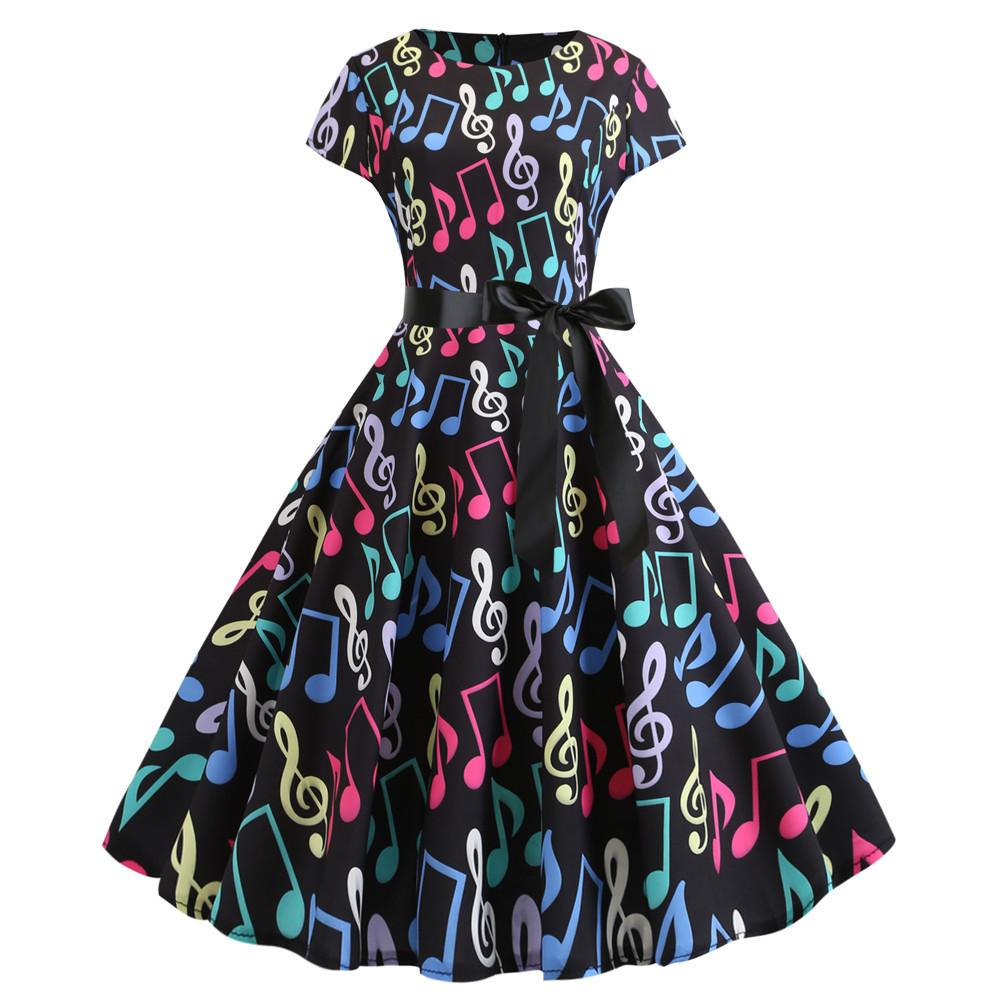 # JY13741 Kwaii siyah müzik A-line sarkaç Elbise Retro Kadın giyim nedensel fermuar Baskılı O-boyun kısa kollu arka notasyonu