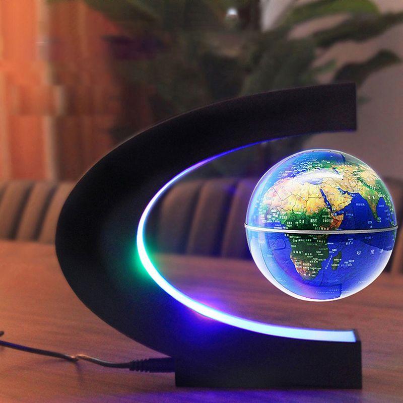 المغنطيسى العائمة خريطة العالم غلوب مع قاعدة C الشكل والإرتفاع غلوب مع الصمام الخفيفة للأطفال وزارة الداخلية 100-240V (الاتحاد الأوروبي التوصيل US)