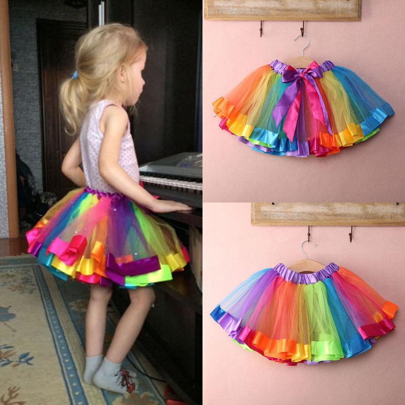 Bebê bonito caçoa Handmade colorido bonito saia tutu meninas do arco-íris Tulle Tutu Mini vestido 0-8Y