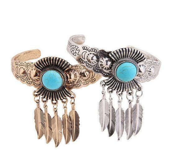New Ethnic Jewelry Large Open Wide Arm Bracelet Bracelet Female Boho Style Natural Stone Leaf Glamour Statement Bracelet
