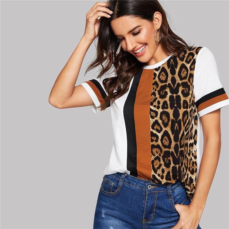 Leopard Print Maniche corte maglietta Striscia Equipaggio collo di estate delle donne Tees rivestite modo di usura cacual femminile vestiti