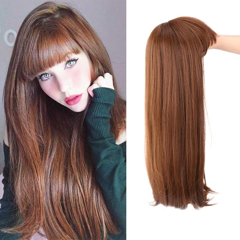 AILIADE блондинка длинный прямой парик и челка синтетические волосы парик взрыв и для женщин черный коричневый термостойкий