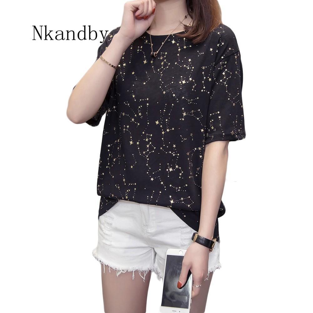 Nkandby Plus Size Womens T Shirt Tops 2019 Summer Gold Star Woman Tshirt Tops 4XL Oversized Funny Short Sleeve Ladies T-shirts T200110