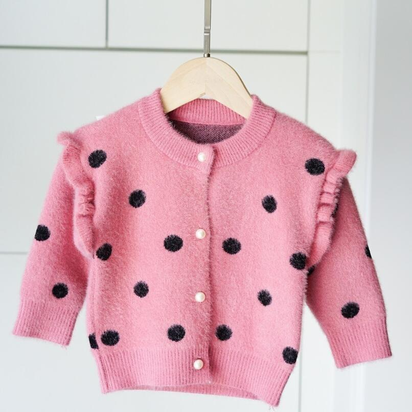 Spring Autumn Long Sleeves Girls Sweater Kids Cardigan Dot Print Girls Clothes Infant Baby Toddler Girl Coats And Jackets JW5017