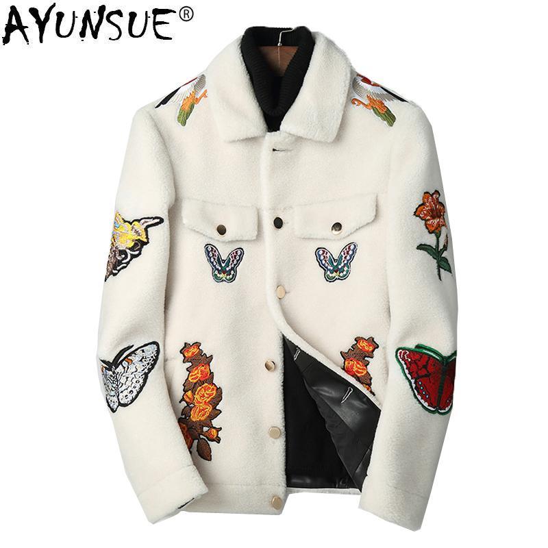 AYUNSUE Real Wool Fur Coat Men Short Sheep Shearing Jacket Winter Fashion Coat Men Overcoat Korean Erkek Mont KJ1464