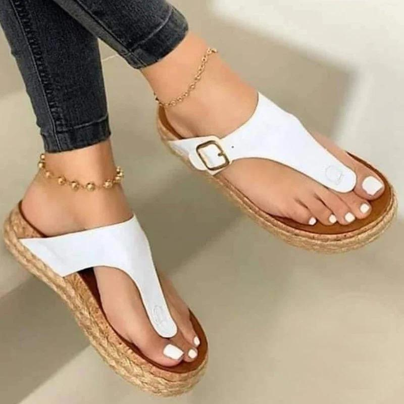 women summer flats plus size shoes woman outdoor flip thong PU leather slippers sandalias mujer sapato feminino N378