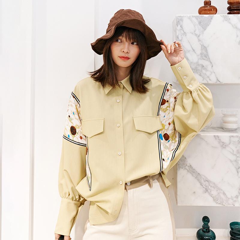 LANMREM 2020 novos turn-down colarinho mangas cheias retalhos impressos de alta qualidade mulheres camisa fora feminina blusa WK39404M