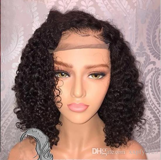 Human Hair 150% density Bob Wigs Brazilian Curly Short Lace Wig with Baby Hair Side Part Glueless Lace Front Wig for Women FZP203