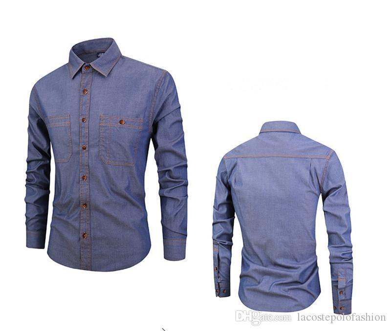 قميص صلب يزين أزياء طويلة كم ملابس لابيل عارضة صدر واحد قمم Homme Tops Spring Designer Mens