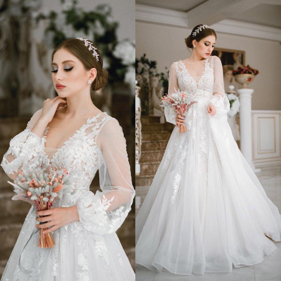 2020 Modest Elegant A Line Wedding Dresses V Neck Long Puff Sleeve Lace Applique Wedding Gowns Sweep Train robe de mariée