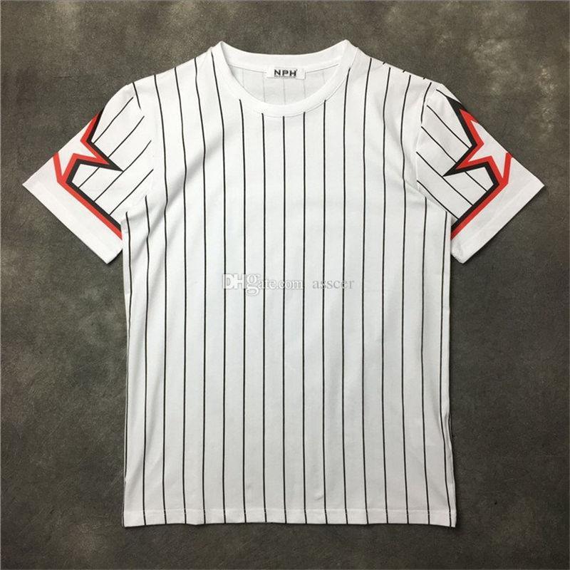 Uomini manica corta donne Pentagram della stella di stampa a righe T-shirt uomo T shirt camicie da uomo Tees formato S-XXL
