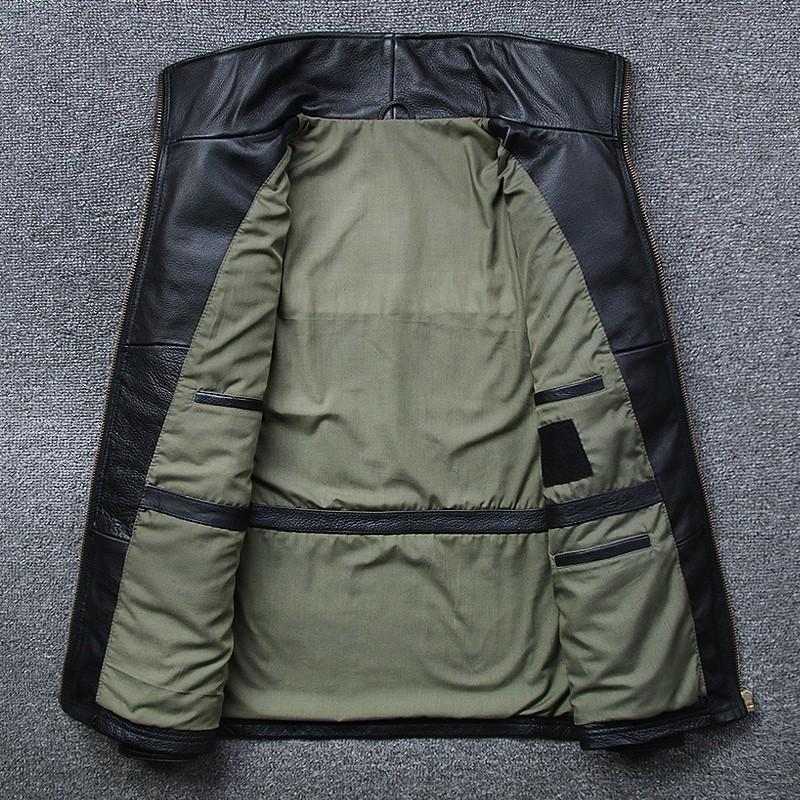 2020 nueva chaqueta Turn-down Collar mens del cuero genuino capa ocasional de cuero con cremallera Negro Largo real chaqueta delgada de alta calidad