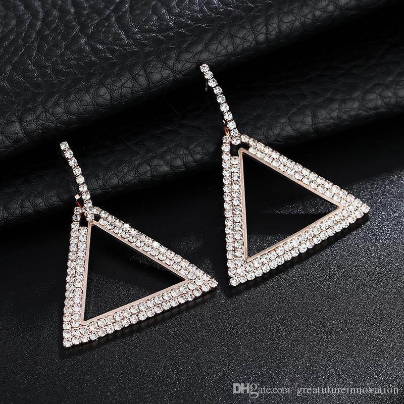 Yapay elmas Küpe Özgünlük Küpe Kadın Elmas Geometri Üçgen 925 Gümüş İğne Kulak Tırnak