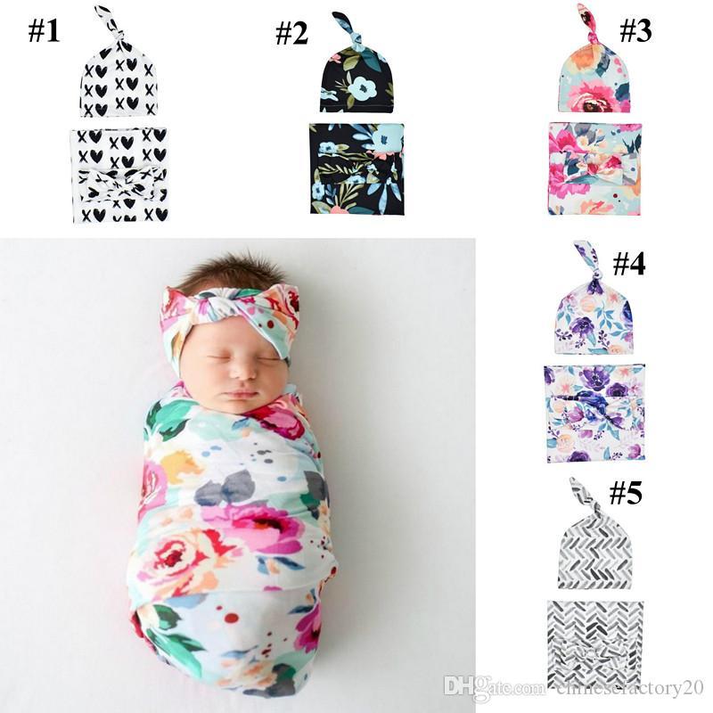 Bambino appena nato Swaddle Blanket Bow Hat fascia 3 pz Sacchi a pelo Wrap INS Toddler Cartoon Dinosaur sonno Sacchi Shark Fotografia Prop