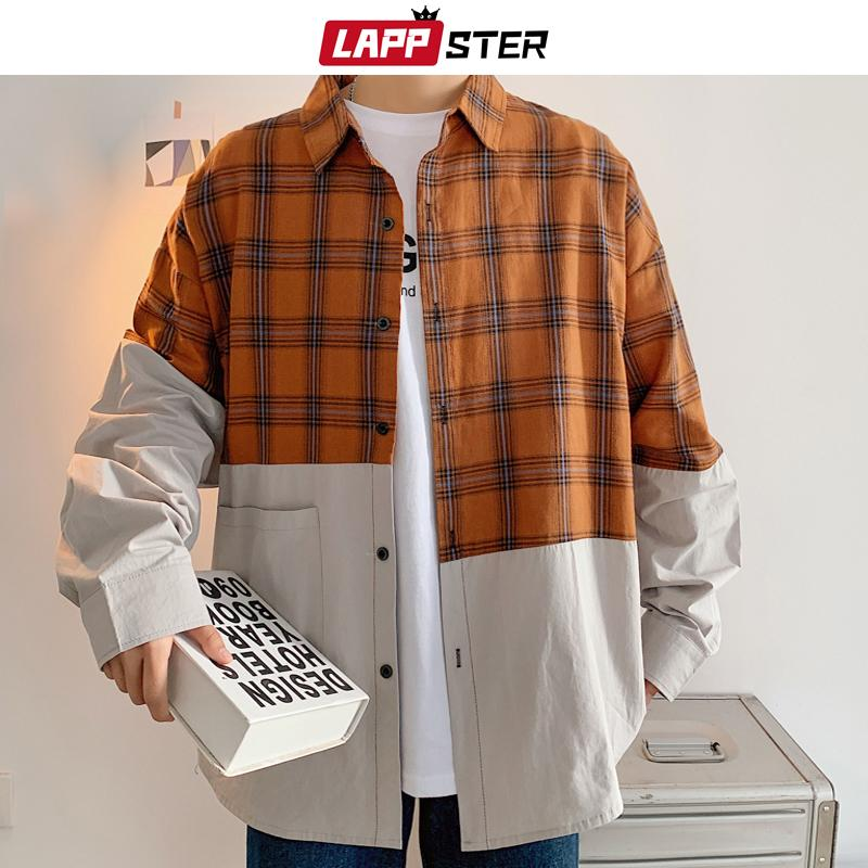 ЛАПСТЕР мужчины плед пэчворк рубашка с длинным рукавом 2020 корейская мода Harajuku Cltohes мужская винтажная рубашка на пуговицах плюс размер 5XL