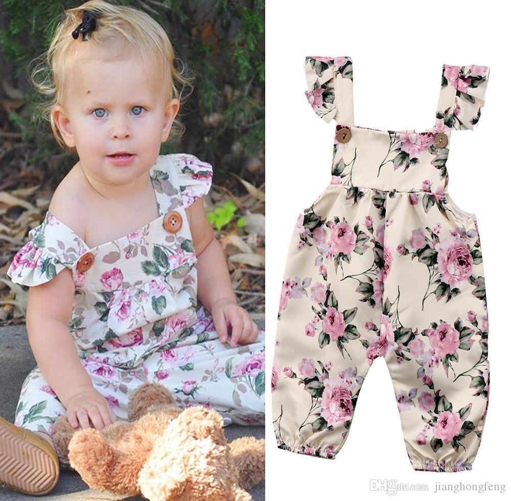 2019 a estrenar niño recién nacido bebé niña correa de la flor mameluco del mono traje sin mangas traje de verano ropa de verano del bebé 0-24 M