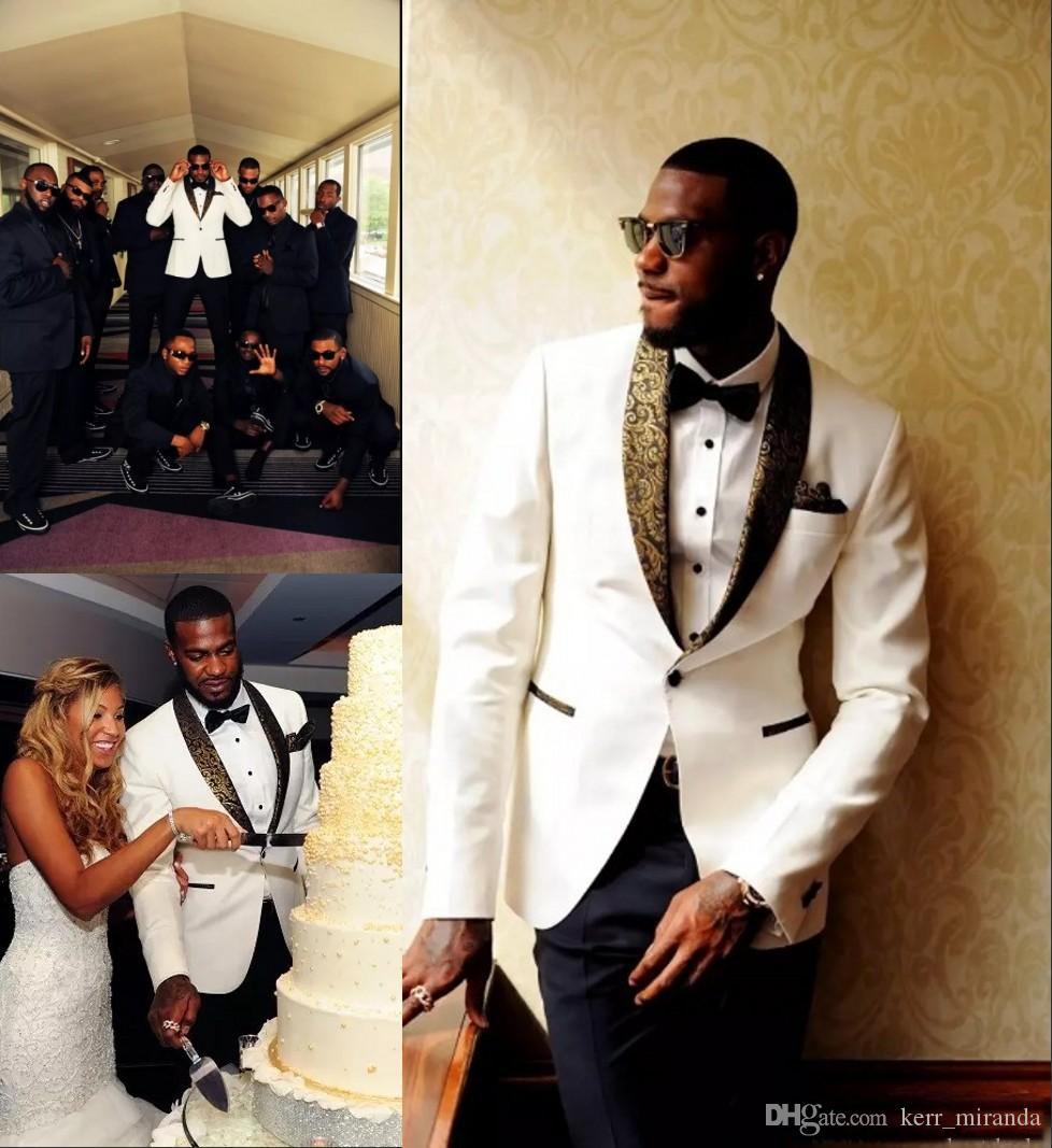 Dogana effettuata Ivory smoking dello sposo Groomsmen su ordine collo a scialle Mens Wedding Suits sposo (Jacket + Pants + Bow Tie + fazzoletto)