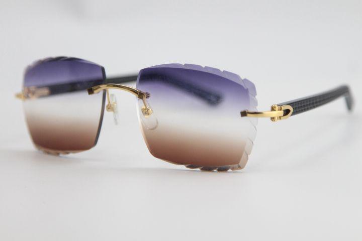 Toptan Son Güneş Gözlüğü 3524012 Siyah Tahta Çerçevesiz Gözlük Moda Yüksek Kaliteli Erkek ve Kadın Gravür Lens C Dekorasyon