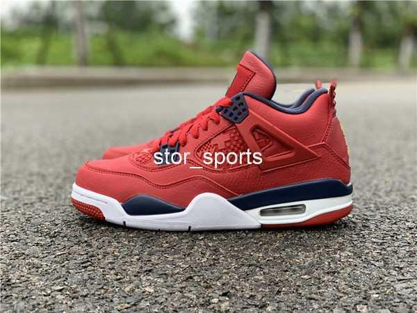 regarder 2edbd e8d88 Acheter 2019 Nouveau Jordan Retro 4 SE FIBA Hommes Chaussures De Basketball  Top Qualité Marque 4S Designer Baskets Gym Rouge CI1184 617 Taille US7.5 ...