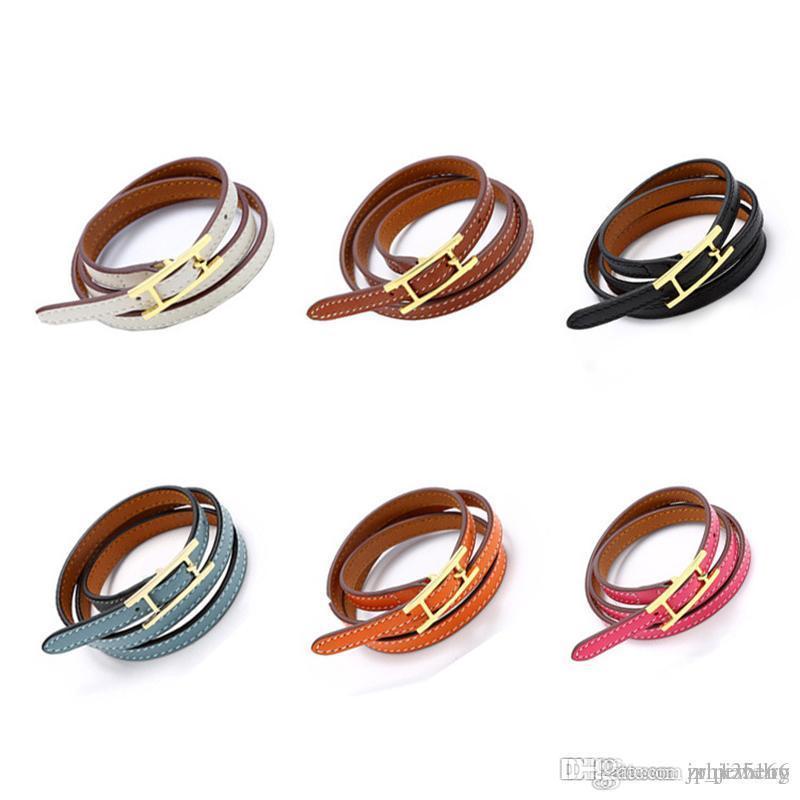 2019 jóias atacado H fivela de cinto, pulseira de couro três camada, pulseira Kell, H pulseiras carta de couro, homens e mulheres pulseira