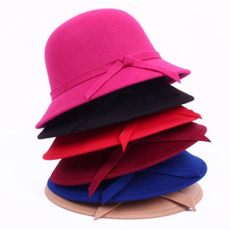 Winter Women Solid Wool Felt Cloche Hats 2019 new Fedoras Vintage Western Bucket Hats 6 Colors Warm Female Bowler Hats