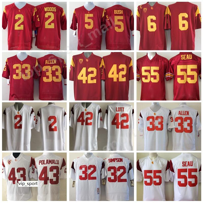 Футбол Маркус Аллен Джерси USC Trojans College Ronnie Lott 2 Роберт Вудс 6 Марк Sanchez 55 Junior Sau 5 Reggie Bush
