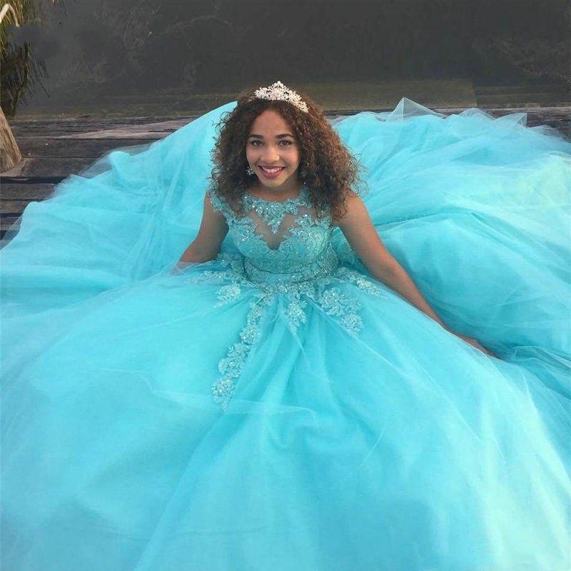 Vestidos 15 anos Vestidos Quinceanera 2020 azuis do Aqua Applique frisada Bola Vestidos Doce 16 Dresses Bateau Tulle Prom Dress Vestidos De Novia