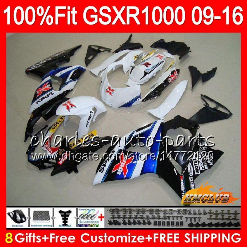 Iniezione per SUZUKI GSXR1000 Blu X bianco 2009 2010 2011 2012 2014 2015 2016 16HC.11 GSXR-1000 K9 GSXR 1000 09 10 11 12 13 15 16 Carenatura