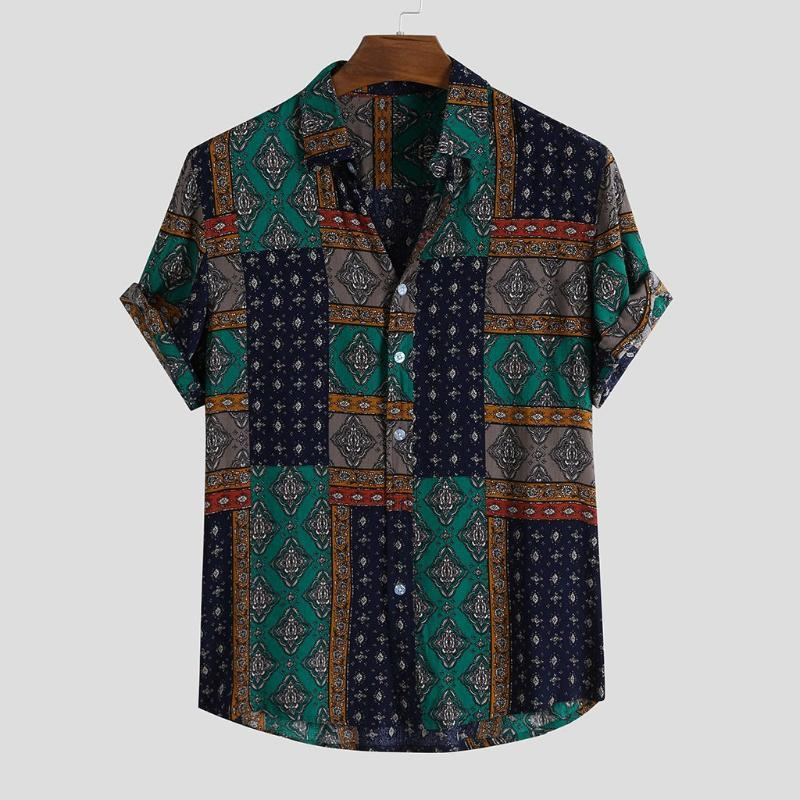 Hawaiian Shirt Men Chemise Summer Button Hawaiian Pocket Short Sleeve Vintage Ethnic Style Round Hem Loose Shirts Print Blouse