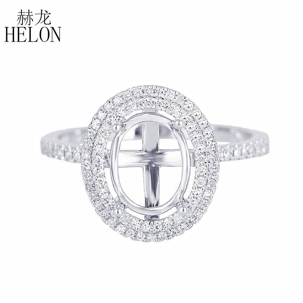 HELON Oval 7x9mm Solid 10K White Gold Pave Natural Diamonds Engagement Wedding Semi Mount Ring Setting Women Trendy Fine Jewelry S200117