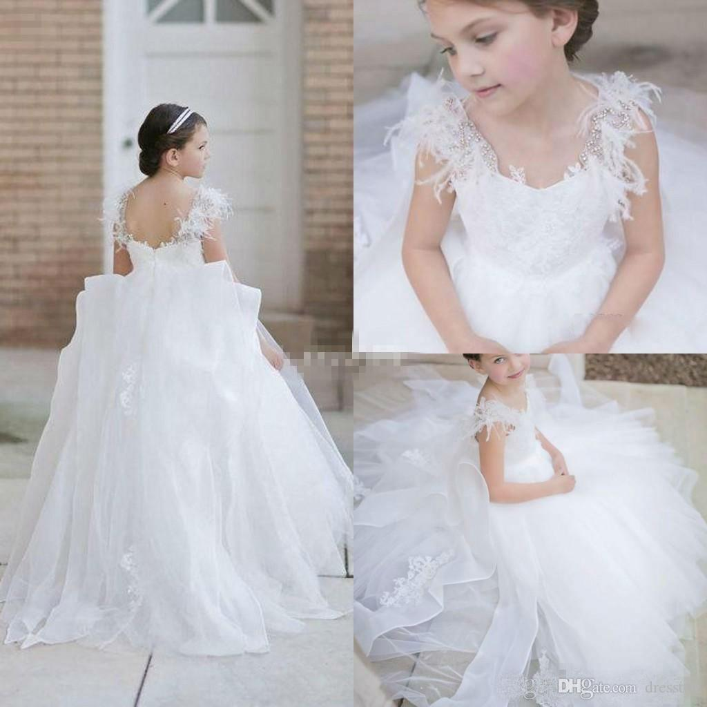 Pretty White Flower Girl Dresses for Weddings 2019 Tulle Sleeveless Lace Applique Beaded Girls Pageant Gowns Feathers Kids Formal Dress