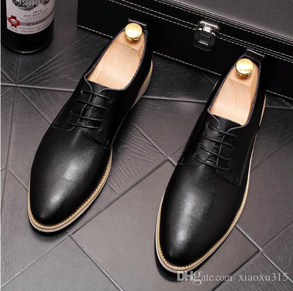 white Genuine leather men shoes Men's oxfords Lace-Up business dress shoes for men black men Formal leather Sapato Social Masculino JP169