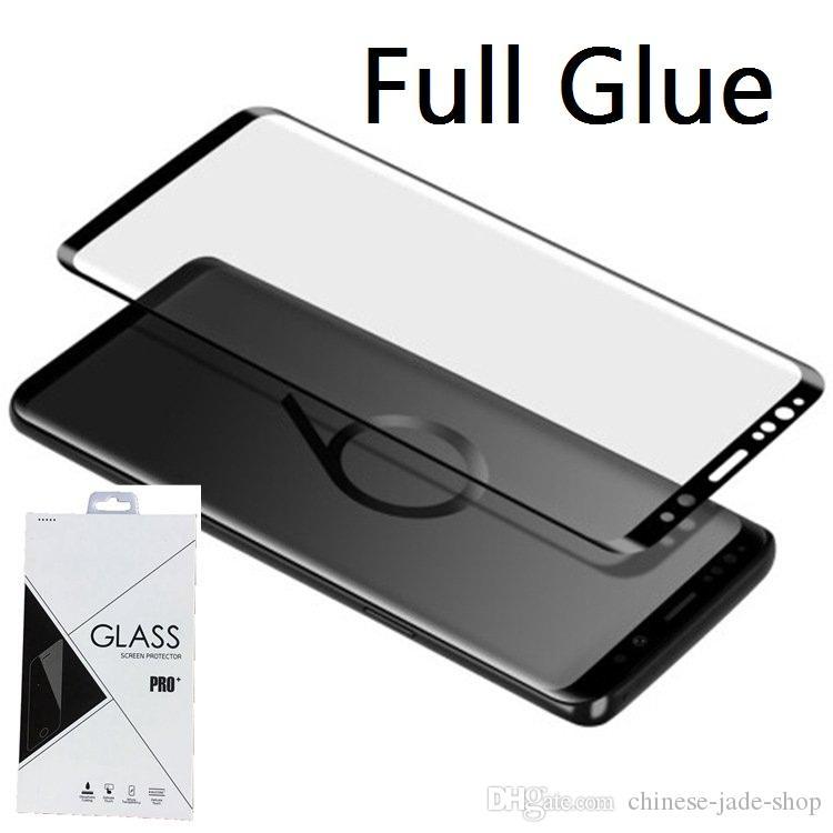 Fullhäftande limfodral Friendly / Full Cover Temperat glas 3D Böjd för Samsung Galaxy S8 S8 Plus S9 S9 Plus Not 8 Not 9 i Retail 50p