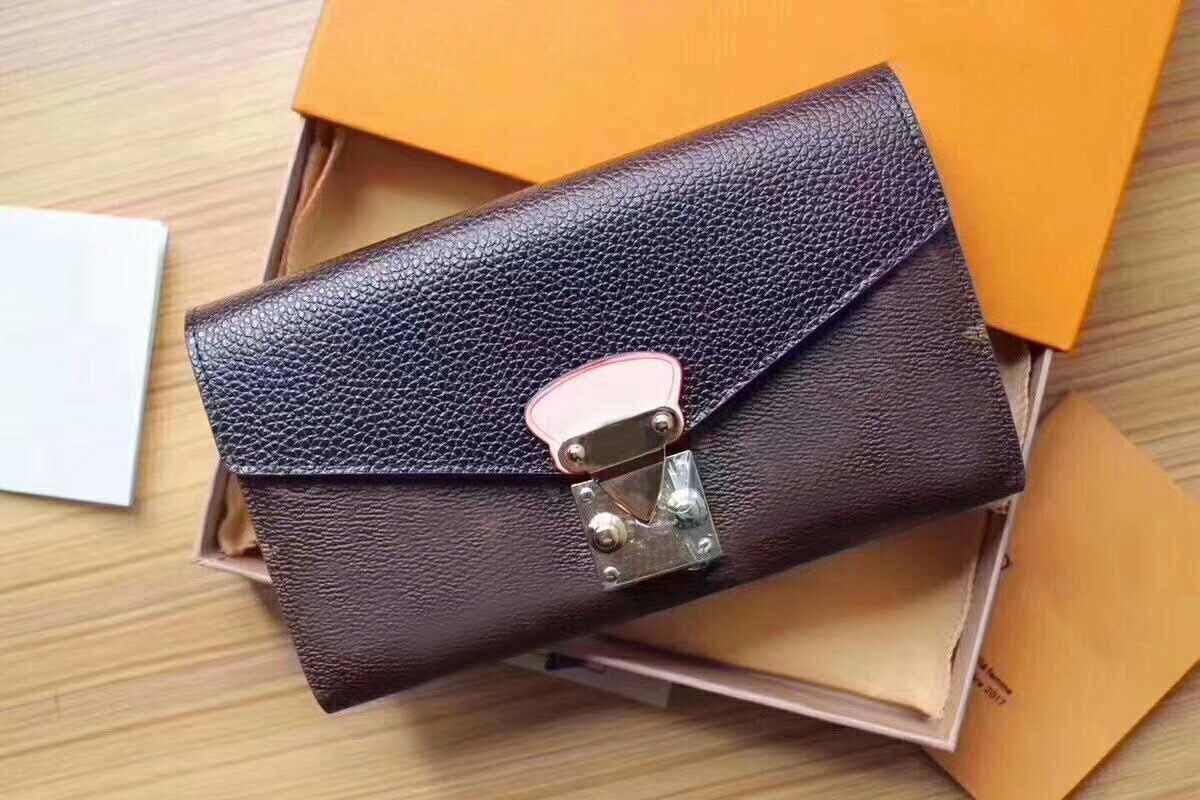 2020 Mode High Fahion Brieftasche Frauen Graphit Qualität Echte Kupplung Tasche Brieftaschen Geldbörse Lange Pallas Damier Herren Leder Präge Lea XSFW