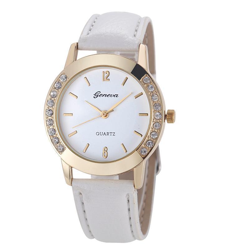 Neue Frauen-Diamant-Uhr-Ausverkauf Damen Uhren Genf Marken-Uhren-Lederband Quarz-runde Uhr-elegante
