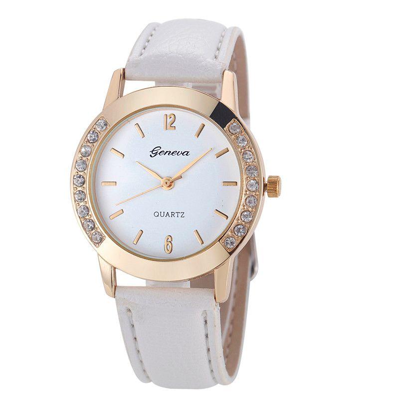 Las nuevas mujeres del diamante del reloj Venta de separación de Ginebra relojes de las mujeres Relojes de marca banda de cuero de cuarzo reloj redondo elegante