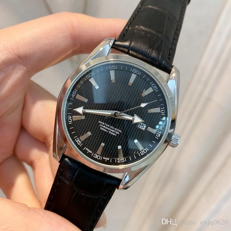 2019 Atacado preço New Fashion man relógio de couro preto Varejo relógios de Alta-grade relógio masculino relógios de Pulso de luxo top design relógio Agradável mesa