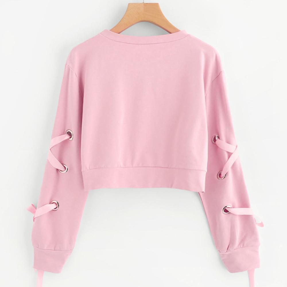 Frieed Womens Long Sleeve Pullover Lace-up Hoodie Striped Sweatshirts Crop Top