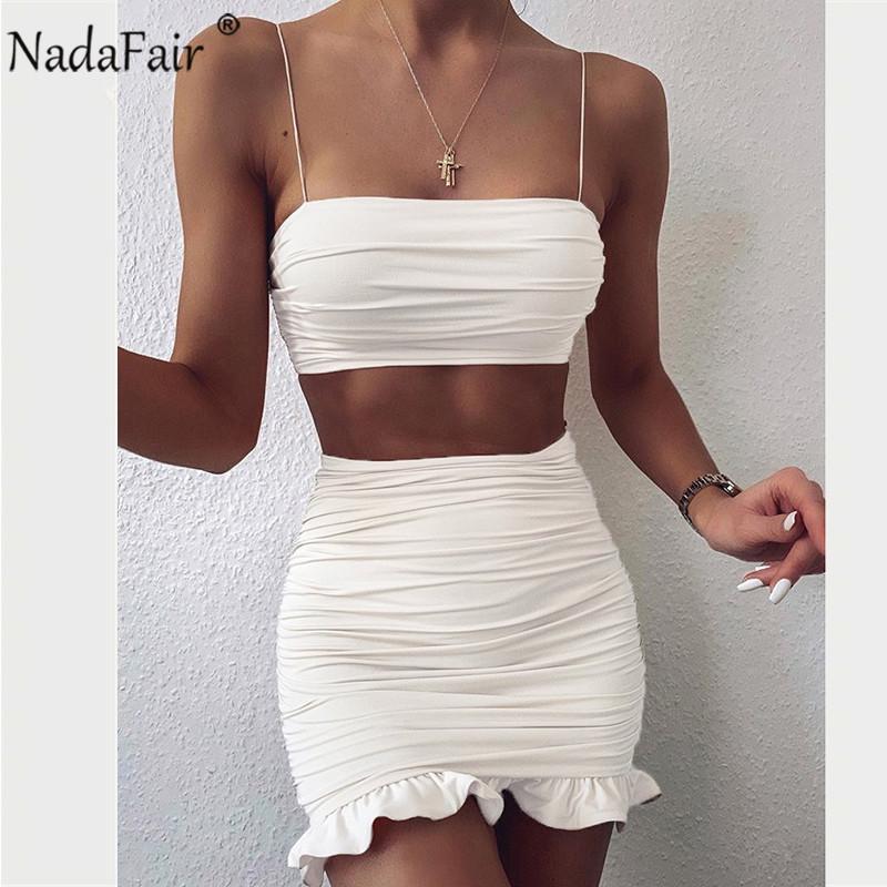 Nadafair de dos piezas de desgaste del club riza el mini verano atractivo blanco de vestidos del hombro partido acanalado bodycon vestido corto de la Mujer 2020 T200707