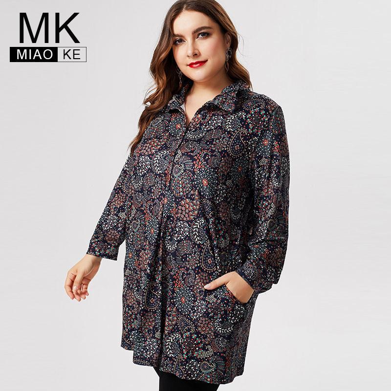 Womens longas MK 2019 queda Plus Size manga tops e blusas da moda senhoras Imprimir camisas florais mãe Vintage elegante V191130 blusa