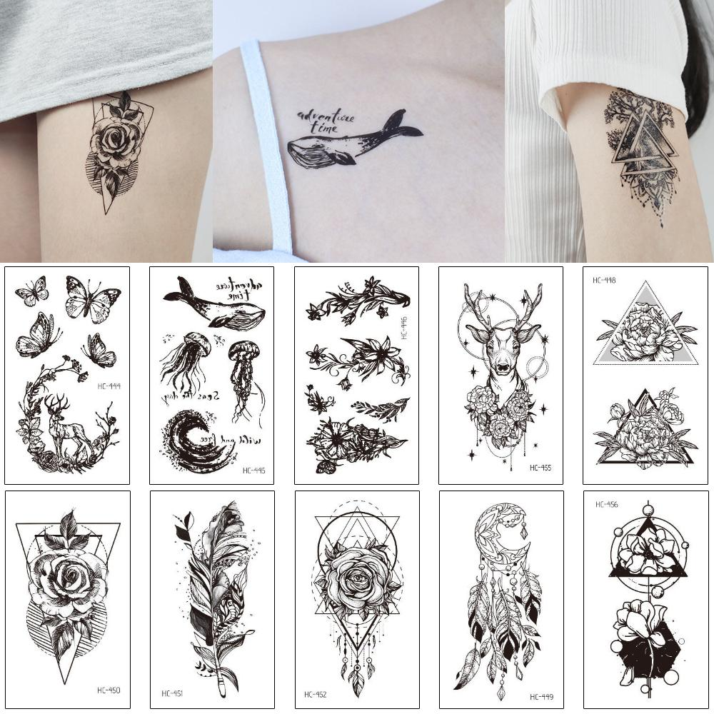 Body Tattoo temporária braço para trás Perna DIY etiqueta Rose Flor Dreamcatcher colar de jóias no peito esterno Art Design Mulher do minúsculo preto 3D tatuagem