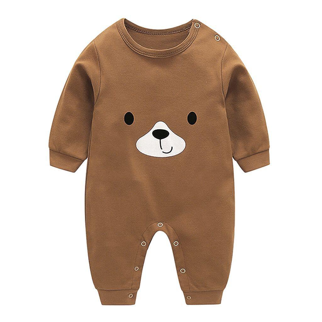 1pc Baby Kids Girls Animal Print Round Neck Jumpsuit Autumn Long Sleeve Bodysuit