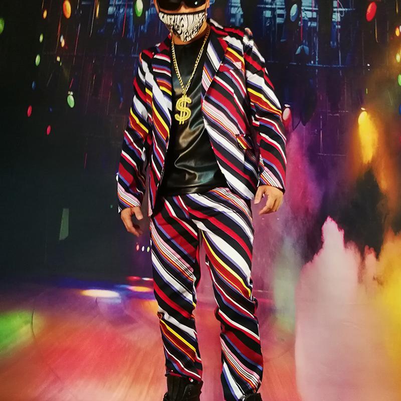 Abiti da uomo BLAZERS 2021 M-6XL! ///// oblique Color Striped Visual Suit Nightclub Singer Bar DJDSgogo Capelli castelli.